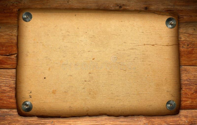 Vecchio documento sul contesto di legno antico fotografie stock libere da diritti