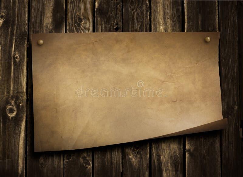 Vecchio documento sulla parete di legno del grunge fotografia stock