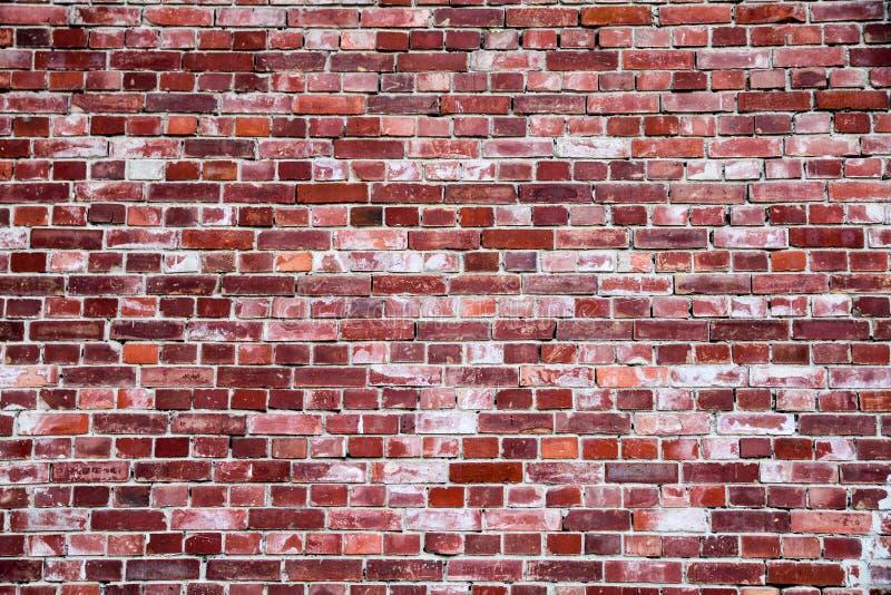 Vecchio e muro di mattoni rosso grungy semplice stagionato segnato tramite l'esposizione lunga agli elementi come fondo di strutt fotografia stock libera da diritti