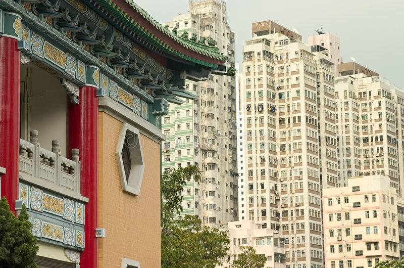 Vecchio e nuovo, Hong Kong fotografie stock libere da diritti