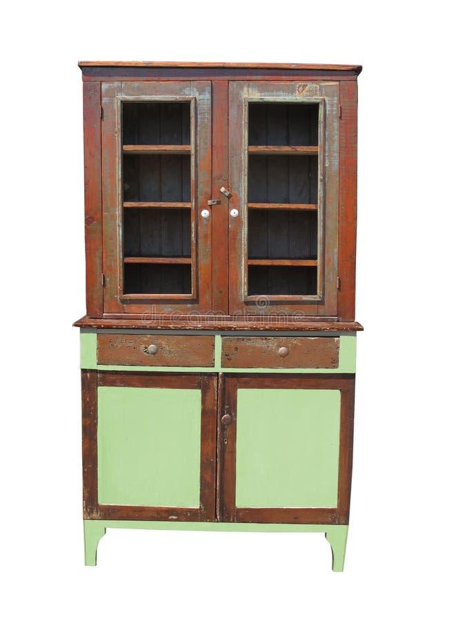 Vecchio ed armadietto di legno consumato isolato. fotografia stock