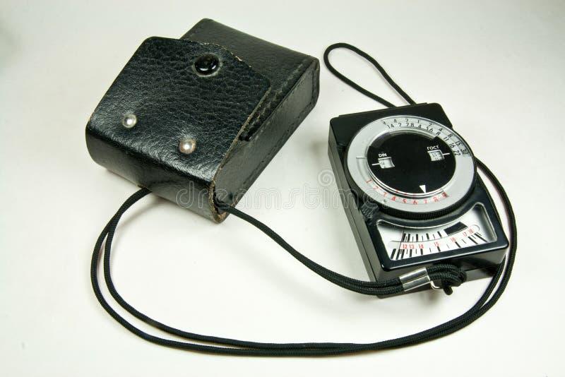 Vecchio esposimetro analog con il caso di cuoio fotografie stock