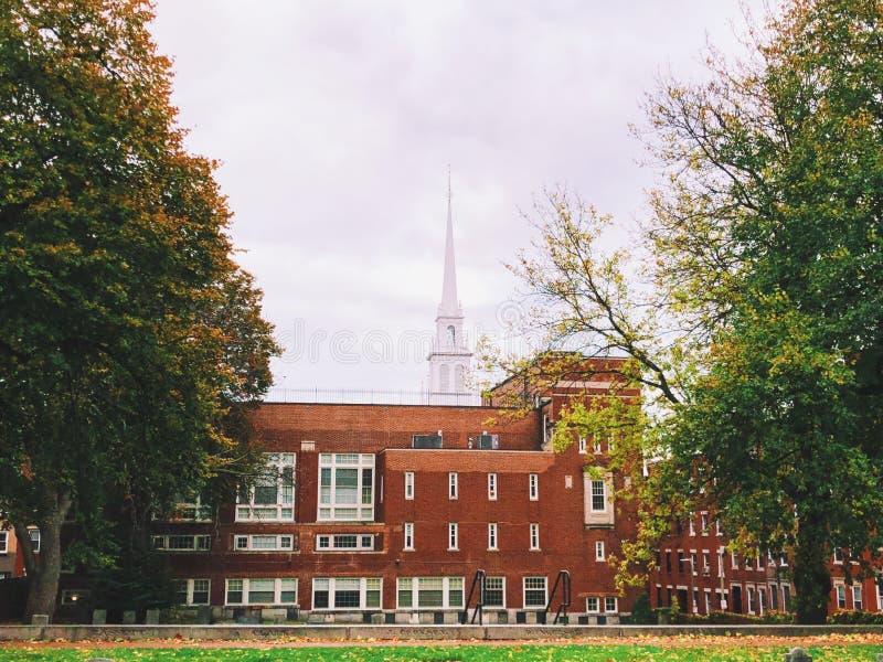 Vecchio esterno del nord della chiesa a Boston fotografia stock
