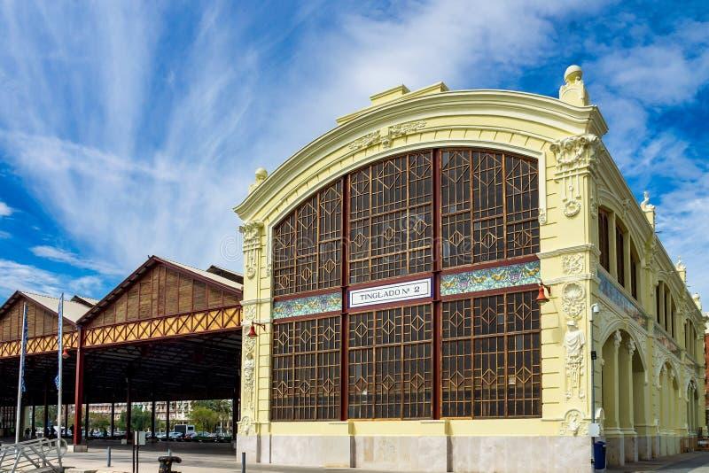 Vecchio fabbricato industriale in Puerto Sagunto a Valencia spagna fotografie stock libere da diritti