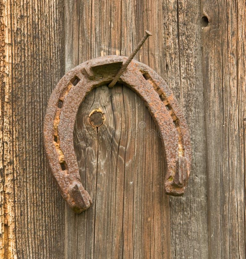 Vecchio ferro di cavallo sul chiodo fotografie stock libere da diritti