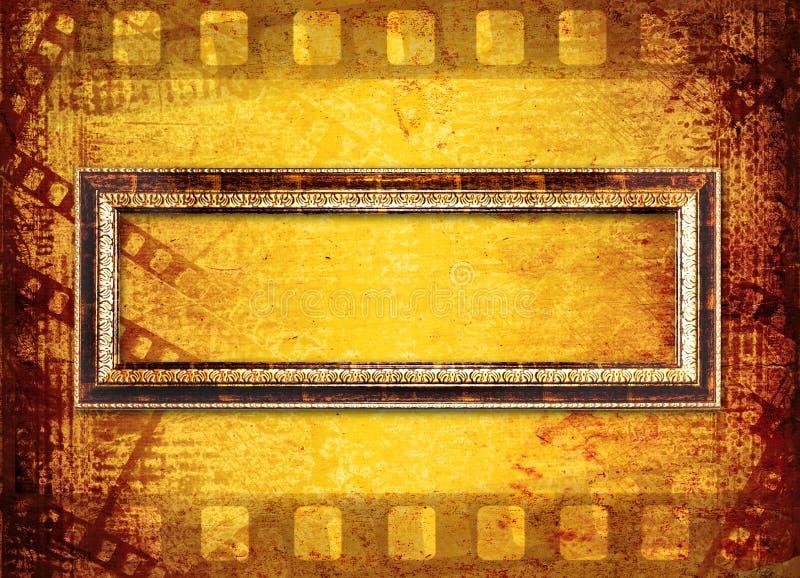 Vecchio filmstrip sui precedenti di carta illustrazione di stock