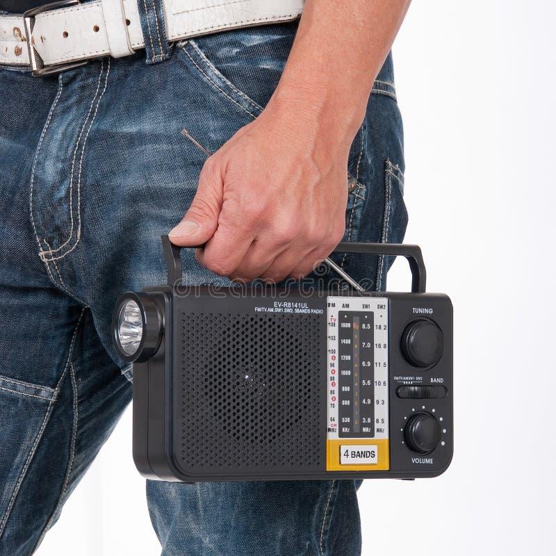 Vecchio fm del sintonizzatore del transistor portatile radiofonico fotografia stock libera da diritti