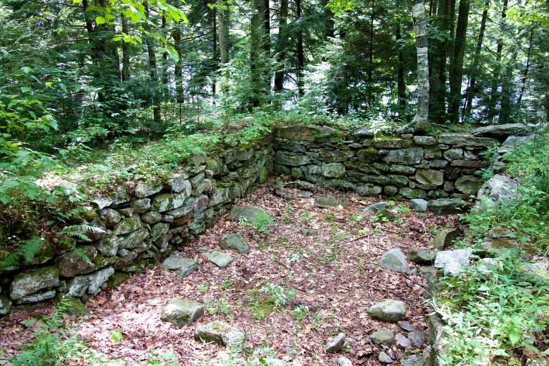 Vecchio fondamento di pietra nel legno immagine stock