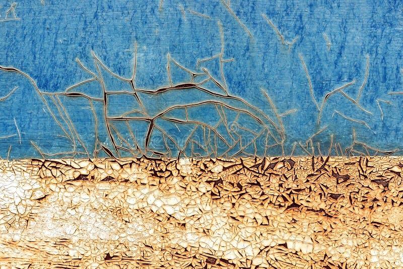 Vecchio fondo arrugginito del metallo con la p blu e bianca incrinata della sbucciatura immagine stock libera da diritti