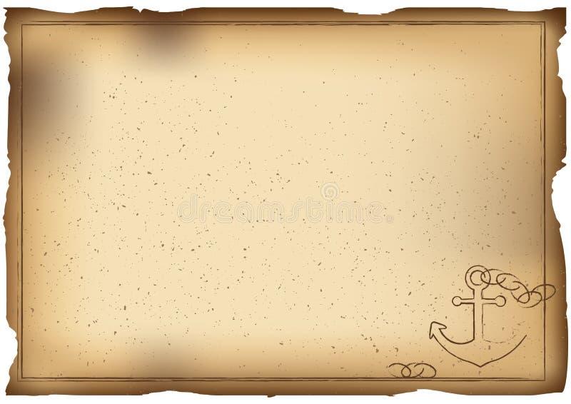 Vecchio fondo di carta con l'ancora illustrazione di stock