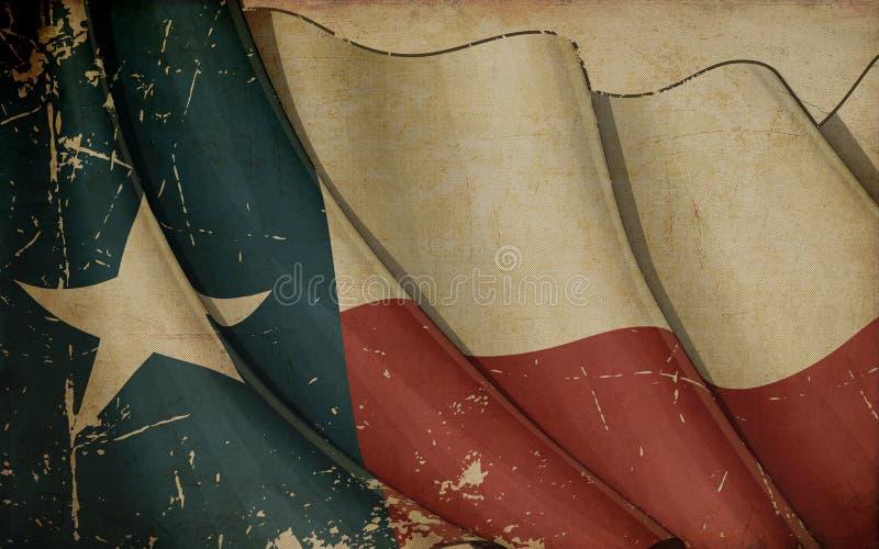 Vecchio fondo di carta della bandiera texana illustrazione di stock