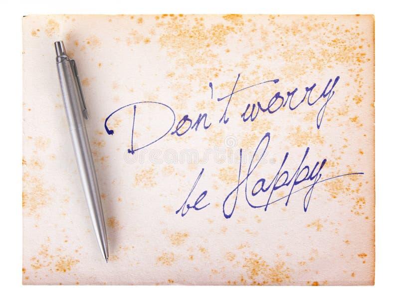 Vecchio fondo di carta di lerciume - non si preoccupi è felice fotografie stock libere da diritti