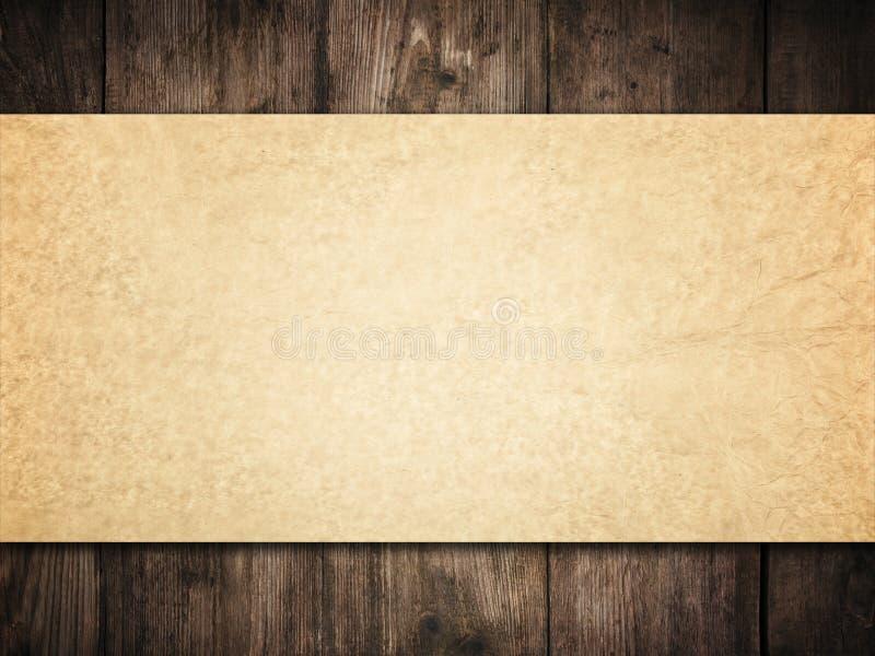 Vecchio fondo di carta sulla parete di legno, struttura di legno delle carte di Brown immagini stock