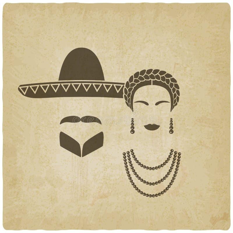 Vecchio fondo messicano della donna e dell'uomo illustrazione vettoriale