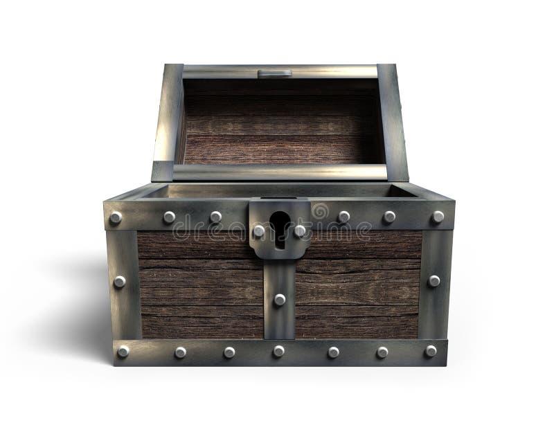 Vecchio forziere aperto, rappresentazione 3D illustrazione di stock