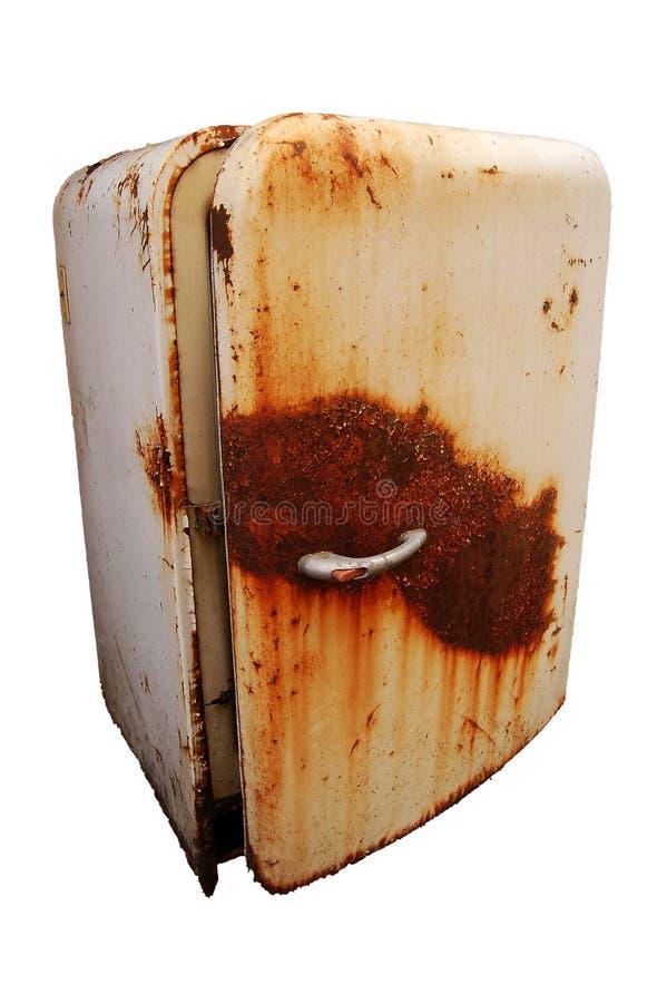 Vecchio frigorifero arrugginito fotografie stock