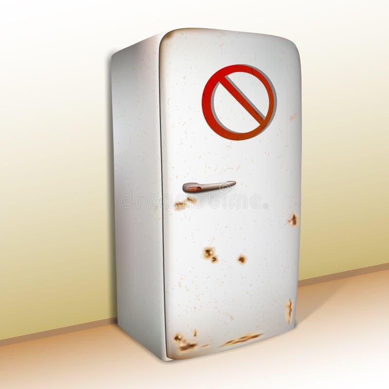 Vecchio frigorifero arrugginito realistico con un segno di proibizione royalty illustrazione gratis