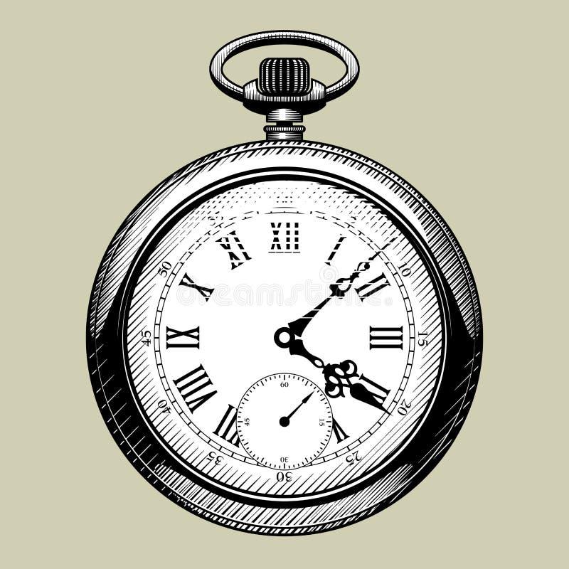 Vecchio fronte di orologio retro vigilanza di casella royalty illustrazione gratis