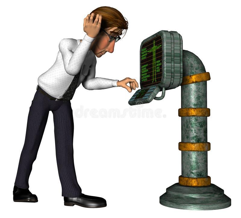 vecchio fumetto del calcolatore dell'uomo d'affari 3d illustrazione di stock