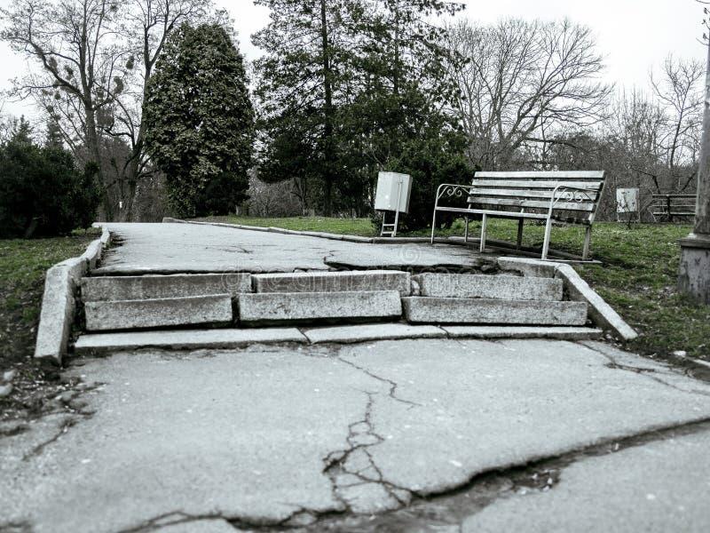 Vecchio giardino botanico abbandonato in autunno freddo nuvoloso immagine stock