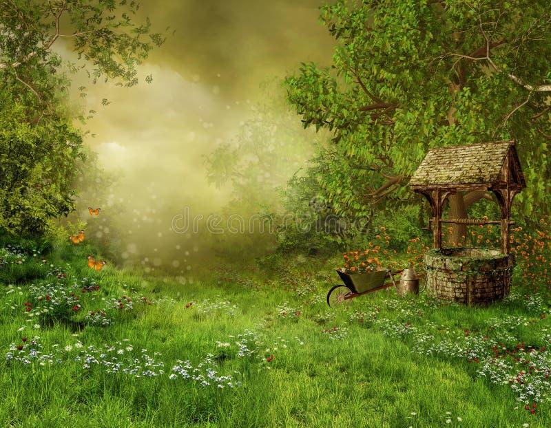 Vecchio giardino del villaggio royalty illustrazione gratis