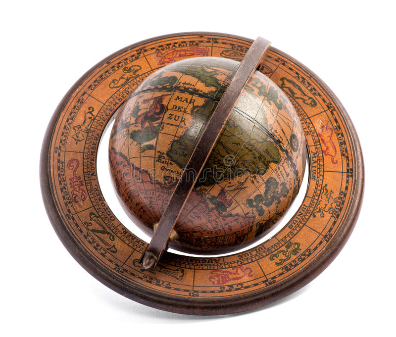 Vecchio globo di legno d'annata del mondo fotografia stock