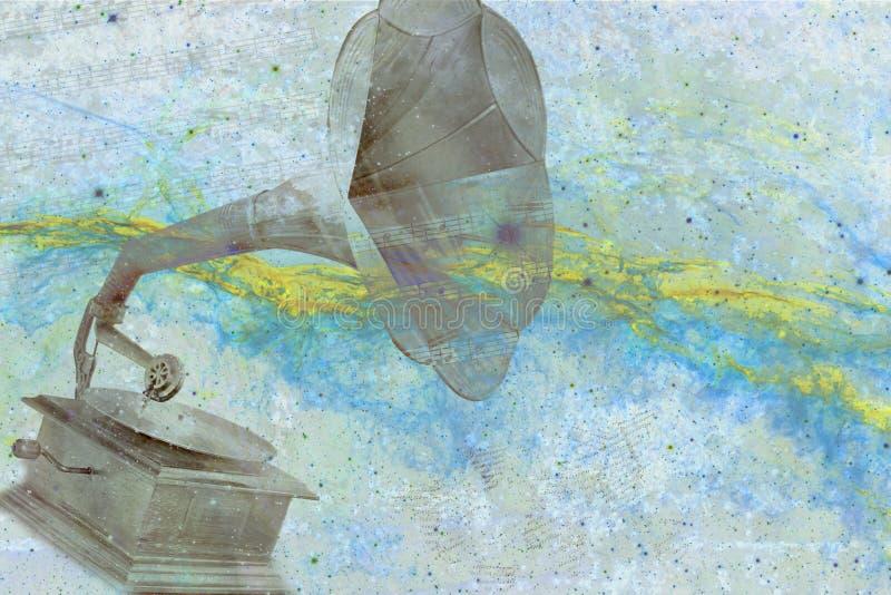 Vecchio grammofono con fondo astratto illustrazione di stock