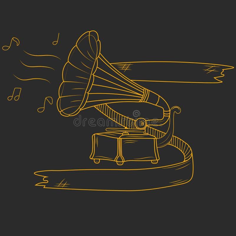 Vecchio grammofono disegnato a mano isolato su fondo nero Illustrazione di vettore illustrazione vettoriale