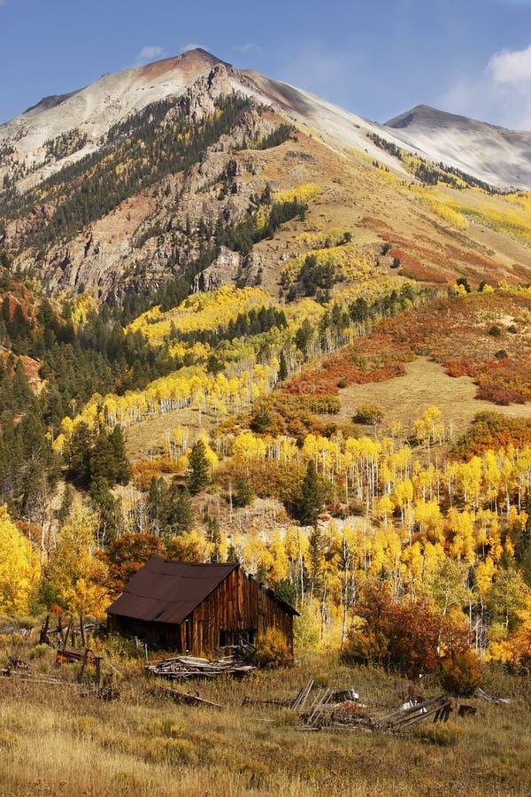 Vecchio granaio vicino a tellururo, Colorado fotografia stock