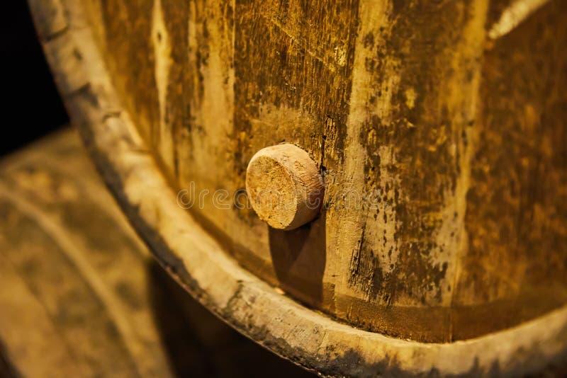 Vecchio ha invecchiato i barilotti di legno tradizionali con vino in una volta allineata in cantina fresca e scura in Italia, Opo fotografia stock