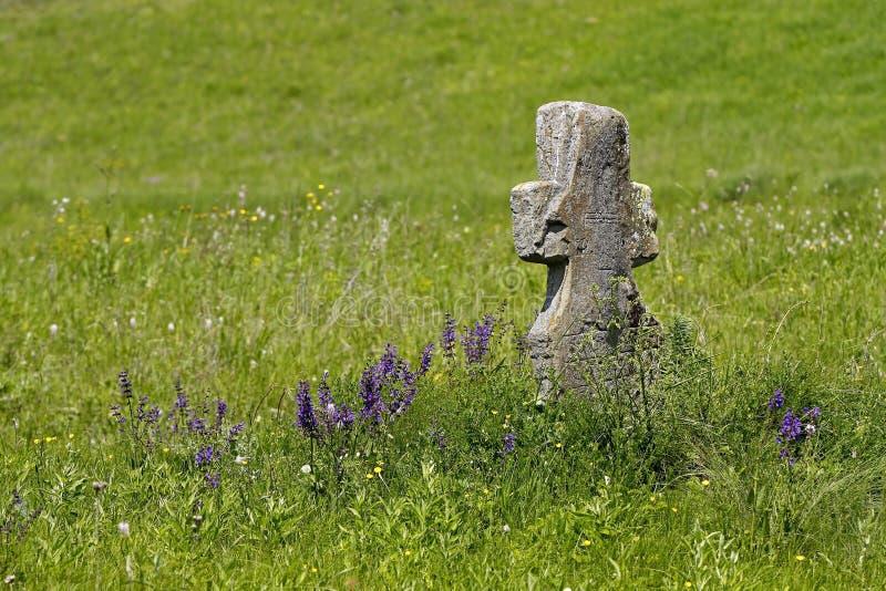 Vecchio incrocio di pietra su un prato verde fotografia stock