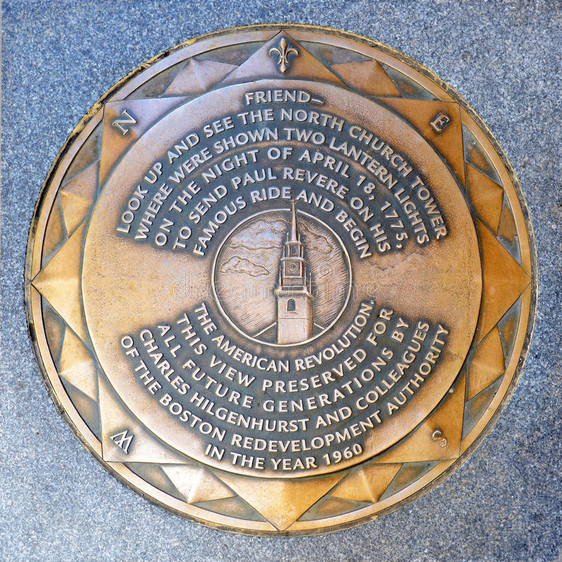 Vecchio indicatore del nord della strada della chiesa, Boston, U.S.A. immagini stock libere da diritti