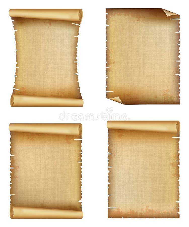 Vecchio insieme di carta della pergamena o del rotolo illustrazione vettoriale
