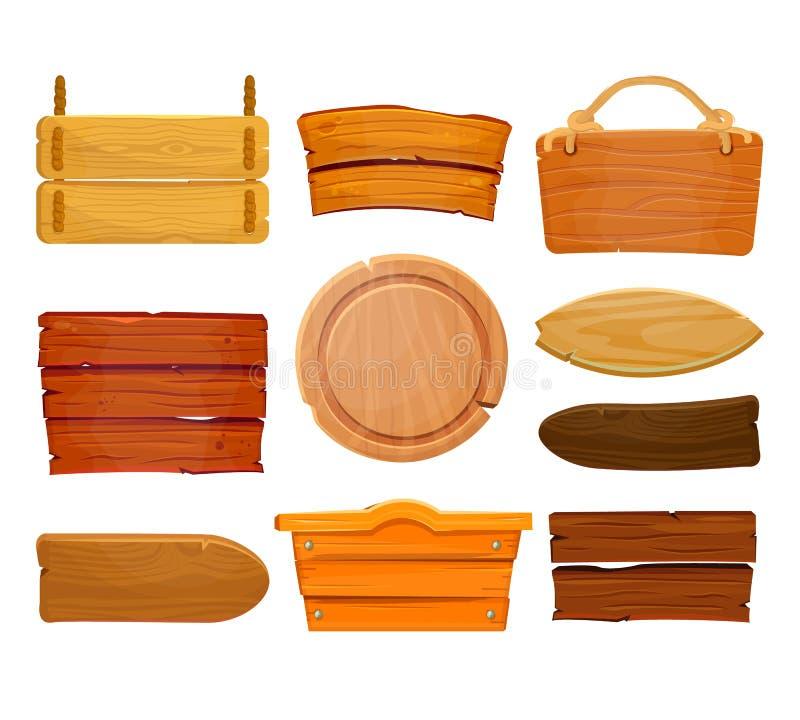 Vecchio insieme di legno ad ovest del bordo Insegne di legno o plancia di legno per le insegne o i messaggi che appendono sulle c illustrazione vettoriale