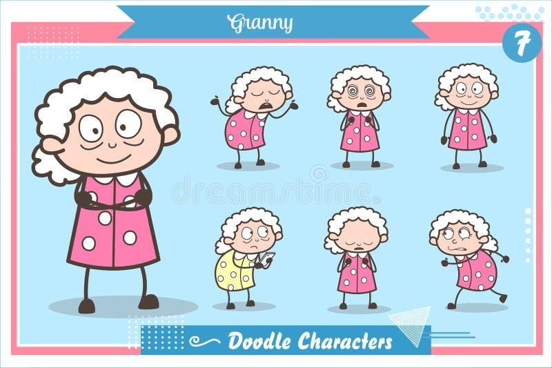 Vecchio insieme di vettore di espressioni e di azioni di carattere della nonna del fumetto illustrazione vettoriale