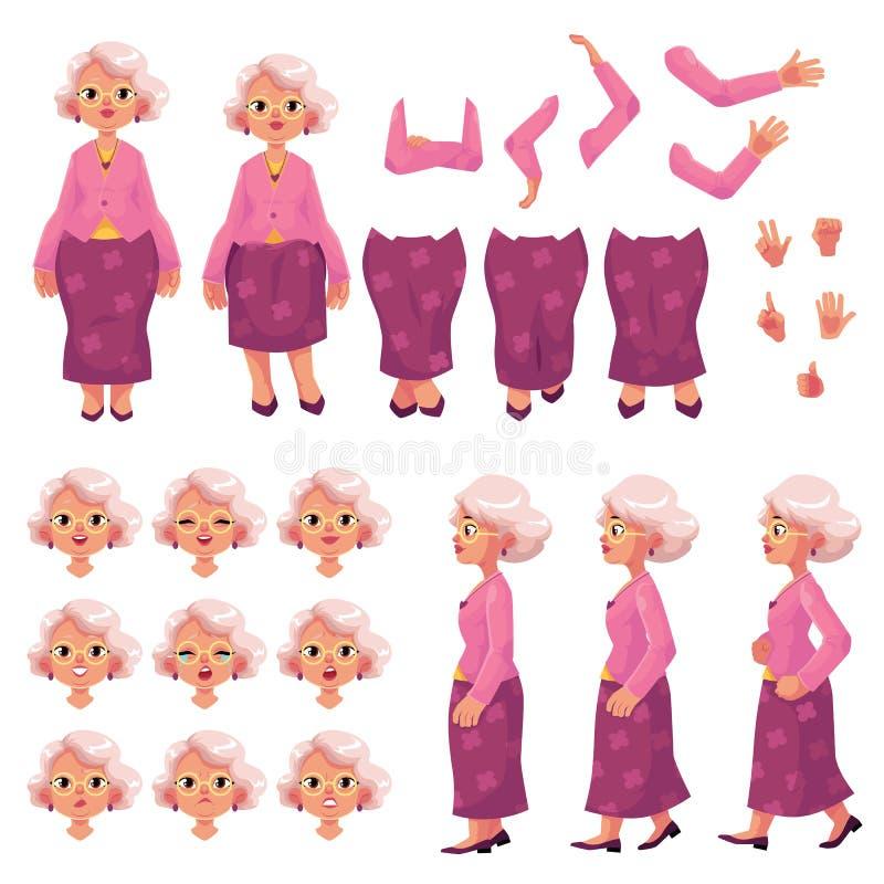 Vecchio, insieme senior della creazione del carattere della donna illustrazione vettoriale