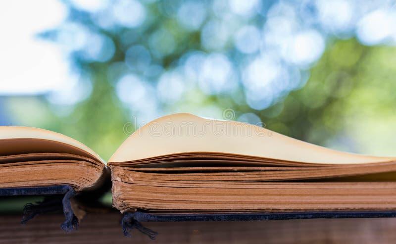Vecchio, invecchiato ha aperto il libro giallo all'aperto, profondità di campo bassa fotografia stock libera da diritti