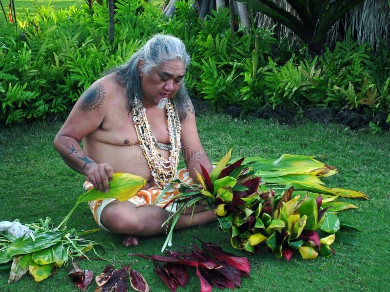 Vecchio Lahaina Luau - uomo hawaiano immagini stock