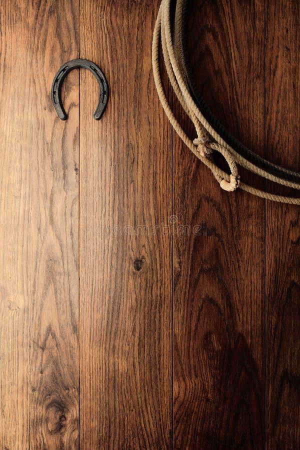 Vecchio Lasso del Lariat e del ferro di cavallo sulla parete di legno del granaio fotografie stock libere da diritti