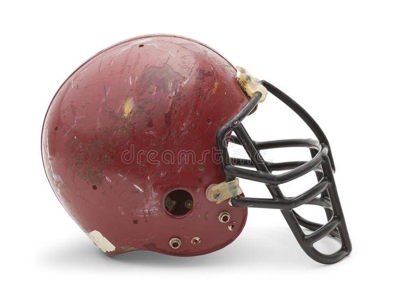 Vecchio lato del casco di calcio fotografie stock