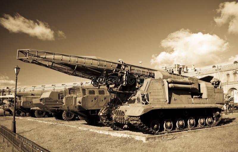 Vecchio launcer russo del missile Scud fotografie stock