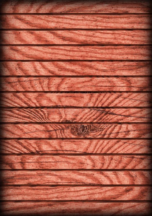 Vecchio legno di pino rosso marrone rossiccio annodato incrinato stagionato che pavimenta struttura rustica di lerciume di Vignet fotografia stock