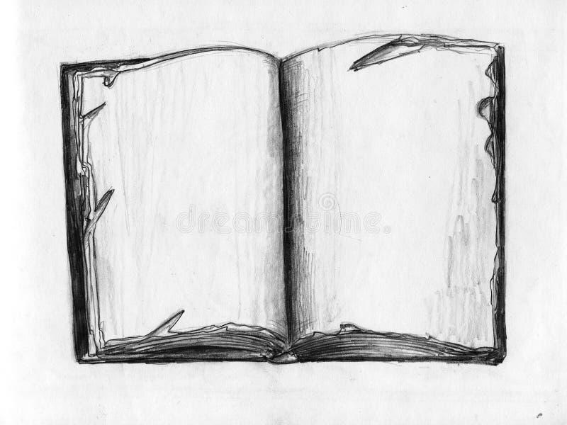 Vecchio libro - abbozzo della matita illustrazione vettoriale