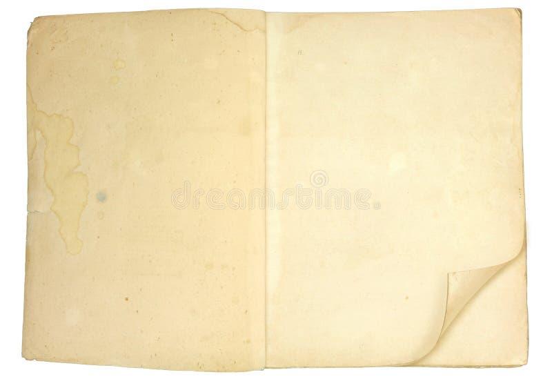 Vecchio libro aperto in bianco con le pagine grungy fotografie stock