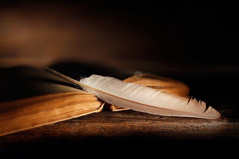 Vecchio libro con le pagine aperte e penna di spoletta sulla tavola di legno fotografie stock libere da diritti