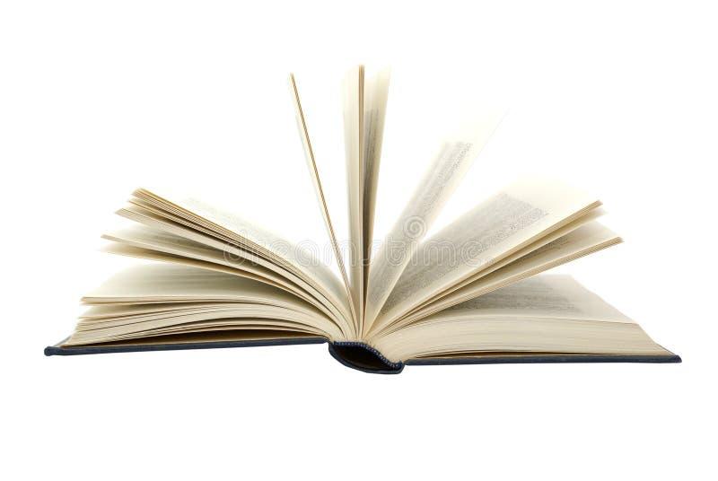 Vecchio libro con le pagine biondeggianti isolate su bianco. fotografia stock