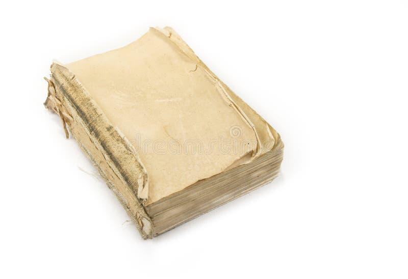 Vecchio libro d'annata senza copertura sul bianco immagini stock libere da diritti