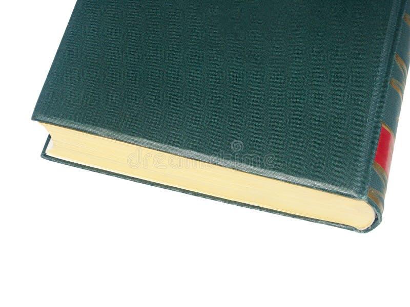 Vecchio libro dalla copertina rigida verde con lavorazione con utensili rossa immagini stock