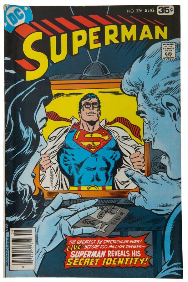 Vecchio libro di fumetti d'annata, superman fotografie stock