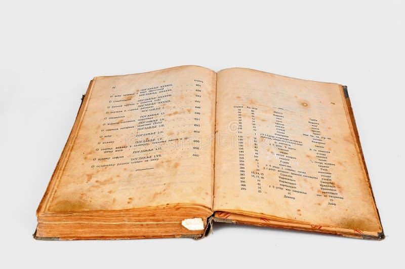 Vecchio libro di ricette fotografia stock